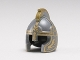 Part No: 10054pb01  Name: Minifigure, Headgear Helmet Castle with Cheek Protection and Comb with Gold Trim Pattern (Eomer)