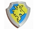 Part No: 51711pb04  Name: Duplo Utensil Shield, Angled Triangle with Yellow Lion and Crown Facing Left Pattern