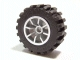 Part No: 51377c02  Name: Wheel 18mm D. x 14mm Spoked, with Black Tire 30.4 x 14 Offset Tread (51377 / 30391)