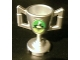 Part No: 89801pb03  Name: Minifigure, Utensil Trophy Cup with World Racer and Smoke on Green and Lime Background Pattern (Sticker) - Set 8899
