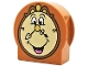 Part No: 14222pb011  Name: Duplo, Brick 1 x 3 x 2 Round Top, Cut Away Sides with Cogsworth Clock Face Pattern