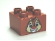 Part No: 3437pb047  Name: Duplo, Brick 2 x 2 with Chipmunk Head with Red Nose and Two Teeth Pattern (Dale)