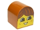 Part No: 3664pb20  Name: Duplo, Brick 2 x 2 x 2 Curved Top with Boy Face, Open Smile, Freckles, Brown Hair Pattern