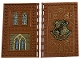 Part No: 69934pb012  Name: Tile, Modified 10 x 16 with Studs on Edges and Bar Handles with Hogwarts Transfiguration Class and Brick Walls and Stained Glassed Windows Pattern on Inside (Sticker) - Set 76382