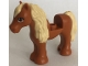 Part No: 75498pb02  Name: Horse with 1 x 1 Cutout, Tan Mane and Tail, Dark Orange Eyes Pattern