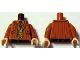 Part No: 973pb1068c01  Name: Torso Harry Potter Pinstripe Suit Jacket, Dark Tan Vest and Red Tie Pattern / Dark Orange Arms / Light Nougat Hands