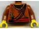 Part No: 973px185c01  Name: Torso Adventurers Orient Striped Collar, Crossbelt, Sash, Knife Pattern / Dark Orange Arms / Yellow Hands