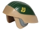 Part No: 27135pb01  Name: Minifigure, Headgear Helmet SW Rebel Trooper with Dark Green Top and Yellow Insignia Pattern