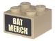 Part No: 3003pb130  Name: Brick 2 x 2 with Tan 'BAT MERCH' Pattern (Sticker) - Set 70840