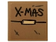 Part No: 3068bpb1283  Name: Tile 2 x 2 with Groove with Black 'X-MAS' and Tan Tape on Dark Tan Background Pattern (Sticker) - Set 75810