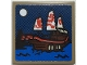 Part No: 3068bpb1699  Name: Tile 2 x 2 with Groove with Sailing Ship at Night with Red Dragon Sails and Moon Pattern (Sticker) - Set 70657