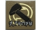 Part No: 3068bpb1700  Name: Tile 2 x 2 with Groove with Black Hammer, Gold Circles and Ninjago Logogram 'J. STONE' Pattern (Sticker) - Set 70657