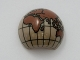Part No: 61287pb002  Name: Cylinder Hemisphere 2 x 2 with Cutout with Europe, Africa, Asia, Australia Reddish Brown Globe Pattern