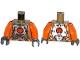Part No: 973pb1920c01  Name: Torso Silver Body Armor with Orange Straps Pattern / Orange Arms / Dark Bluish Gray Hands