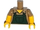 Part No: 973pb2004c01  Name: Torso Simpsons Shirt with Dark Green Overalls Pattern / Yellow Arms with Hair and Dark Tan Short Sleeves Pattern / Yellow Hands