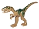 Part No: 98166pb01  Name: Dinosaur, Coelophysis / Gallimimus with Dark Green Stripes and Yellow Eyes Pattern