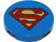 Part No: 14769pb177  Name: Tile, Round 2 x 2 with Bottom Stud Holder with Red and Yellow Superman 'S' Logo Pattern