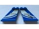 Part No: 2340pb057  Name: Tail 4 x 1 x 3 with White Curved Stripes and 'JW001' on Blue Background Pattern on Both Sides (Stickers) - Set 75915
