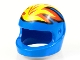 Part No: 2446px5  Name: Minifigure, Headgear Helmet Motorcycle (Standard) with Flames Yellow and Red Pattern