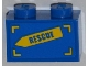 Part No: 3004pb113R  Name: Brick 1 x 2 with 'RESCUE' on Yellow Arrow Pattern Model Right Side (Sticker) - Set 4439