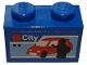Part No: 3004pb222  Name: Brick 1 x 2 with White 'City', Red Car and Black Minifigure Silhouette Pattern (Sticker) - Set 40305