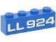 Part No: 3010p924  Name: Brick 1 x 4 with White 'LL924' Pattern