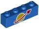 Part No: 3010pb271  Name: Brick 1 x 4 with Classic Space Logo Pattern (BrickHeadz Benny Torso)