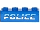 Part No: 3010pb292  Name: Brick 1 x 4 with Medium Blue and White 'POLICE' on Blue Background Pattern (Sticker) - Sets 60242 / 60244 / 60276