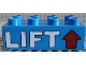 Part No: 3011pb003  Name: Duplo, Brick 2 x 4 with 'LIFT' and Red Arrow Pattern