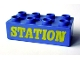 Part No: 3011pb013  Name: Duplo, Brick 2 x 4 with 'STATION' Text Pattern