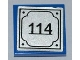 Part No: 3068bpb0468  Name: Tile 2 x 2 with Groove with '114' on Silver Background Pattern (Sticker) - Set 8403