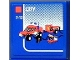 Part No: 3068bpb0591  Name: Tile 2 x 2 with Groove with Lego Fire Car and 'CITY' and '5-12' Set Box Pattern (Sticker) - Set 7848