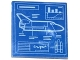 Part No: 3068bpb0680  Name: Tile 2 x 2 with Groove with Space Shuttle Blueprint Pattern