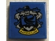 Part No: 3068bpb1683  Name: Tile 2 x 2 with Groove with HP 'RAVENCLAW' House Crest on Blue Background Pattern (Sticker) - Set 75956