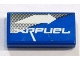 Part No: 3069bpb0019R  Name: Tile 1 x 2 with Groove with White Arrow Right and 'XRFUEL' on Blue and Gray Pattern (Sticker) - Set 8662