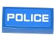 Part No: 3069bpb0296  Name: Tile 1 x 2 with Groove with White 'POLICE' Thin Font on Blue Background Pattern (Sticker) - Sets 60041 / 60047