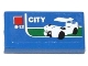 Part No: 3069bpb0327  Name: Tile 1 x 2 with Groove with White Car, 'CITY' and '5-12' Pattern (Sticker) - Set 60050