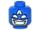 Part No: 3626cpb1530  Name: Minifigure, Head Male Mask with Eye Holes White and Letter A on Forehead, Grin with Teeth Pattern (Captain America) - Hollow Stud