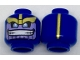 Part No: 3626cpb1850  Name: Minifigure, Head Alien with Gold Eyebrows, Lavender Face with Wide Grin and Gold Stripe on Back Pattern - Hollow Stud