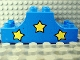 Part No: 4197pb002  Name: Duplo, Brick 2 x 6 x 2 Curved Ends with Three Yellow Stars Pattern