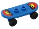 Part No: 42511c01pb01  Name: Minifigure, Utensil Skateboard with Trolley Wheel Holders with Sunset/City Skyline Pattern (Stickers) and Black Trolley Wheels (42511pb01 / 2496)