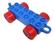 Part No: 4883c02  Name: Duplo Car Base 2 x 6 with Red Wheels and Old Style Closed Hitch End