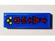 Part No: 63864pb100  Name: Tile 1 x 3 with Red Ninjago Logogram 'HOTEL' and 3 Yellow Stars on Blue Background Pattern (Sticker) - Set 70607