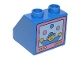 Part No: 6474pb05  Name: Duplo, Brick 2 x 2 x 1 1/2 Slope 45 with Television Clown Pattern