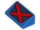Part No: 85984pb155  Name: Slope 30 1 x 2 x 2/3 with Red and Dark Blue X-Men Logo Pattern