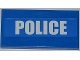 Part No: 87079pb0074  Name: Tile 2 x 4 with White 'POLICE' on Blue Background Pattern (Sticker) - Set 7498