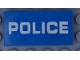 Part No: 87079pb0682  Name: Tile 2 x 4 with White 'POLICE' Pattern on Transparent Background (Sticker) - Set 60174