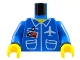 "Part No: 973pb0097c01  Name: Torso Airplane Crew Male, Pockets, ID Badge ""AIR"" and Logo Pattern / Blue Arms / Yellow Hands"