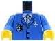 Part No: 973pb0098c01  Name: Torso Airplane Crew Male, Light Blue Tie, Red Pen, Silver Plane Logo, ID Badge, 3 Buttons Pattern / Blue Arms / Yellow Hands