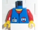 Part No: 973pb0264c01  Name: Torso Rescue Coast Guard Logo, Name Tag, Red Collar, Zipper Pattern / Red Arms / Yellow Hands
